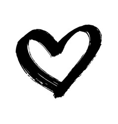 Brush painted heart isolated on a white background vector