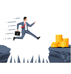 Businessman jumps to money through abyss vector