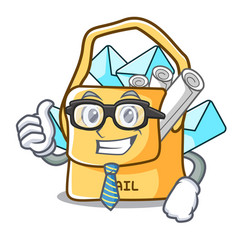 Businessman the bag with shape mail cartoon vector