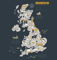 Cartoon map united kingdom with legend icons vector