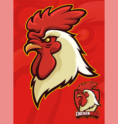 chicken head mascot for sports or university vector image