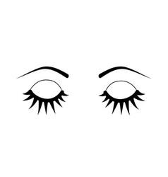 Closed eyes eyelash extensions vector
