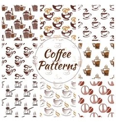 Coffee seamless pattern of beans cups icons vector image