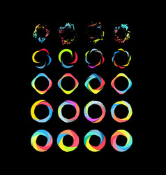 color circle set on black vector image
