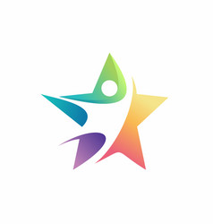 colorful star logo design vector image