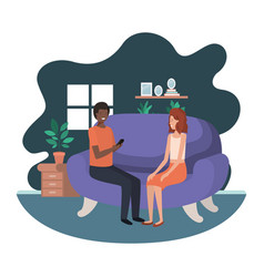 couple using smartphone in livingroom vector image