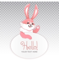 Cute rabbit cartoon waving hand vector