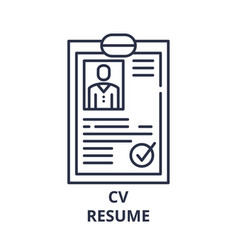 cv resume line icon concept cv resume vector image