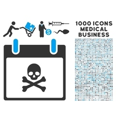Death Skull Calendar Day Icon With 1000 Medical vector image