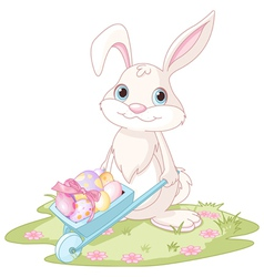 Easter Bunny with wheelbarrow vector