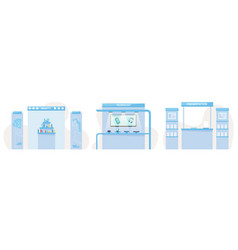 Exhibition stands with cosmetics mobile gadgets vector