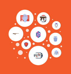 flat icons assault rifle gem jewelry and other vector image vector image
