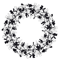 floral frame with magnolia tree blossom in black vector image