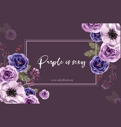 Floral wine frame design with peony anemone rose vector