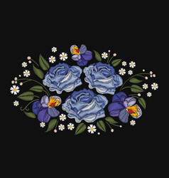flowers roses and pansies isolated on black vector image