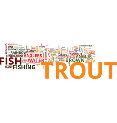 Freshwater trout text background word cloud vector