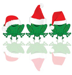 frog with red christmas hat vector image