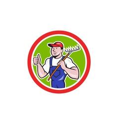 Gardener Farmer Holding Rake Thumbs Up Cartoon vector