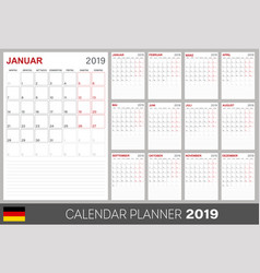 german calendar 2019 vector image