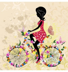 Girl on bike grunge vector