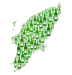 Greek rhodes island map mosaic of wine bottles and vector