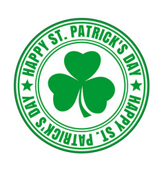green rubber stamp - happy st patricks day vector image