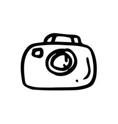 hand drawn camera symbol doodle icon vector image
