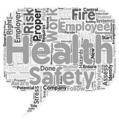 Health and safety at work text background vector