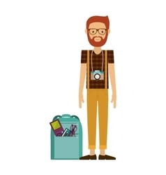 Hipster man with photographic camera vector