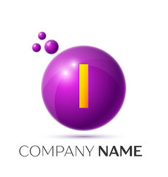 I letter splash purple dots and circle bubble vector