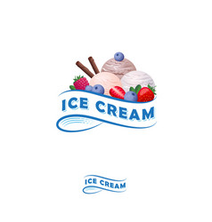 ice cream logo ribbon berries vector image