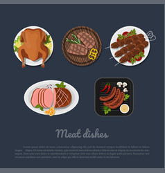 Icons of meat dishes on a plate in cartoon style vector