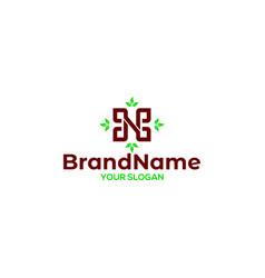 Letter n with leaf logo design vector