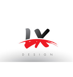 lx l x brush logo letters with red and black vector image
