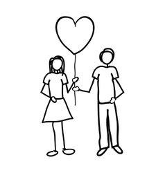 Man and woman holding heart cartoon icon image vector