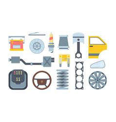 mechanical car spare parts flat set vector image