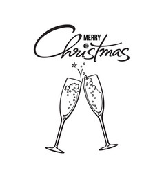 merry christmas text two glasses of champagne vector image