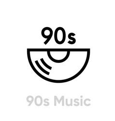 Music 90s vinyl icon editable line vector