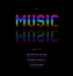 Music font neon style vector