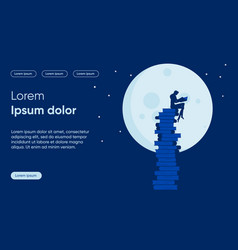 Night learning flat landing page template vector