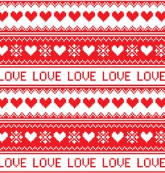 Nordic winter love seamless red heart pattern vector image