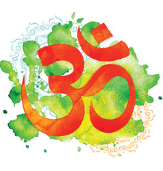 Om sign watercolor background vector