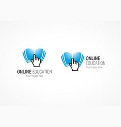 online education logo hand book vector image