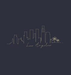 pen line silhouette los angeles dark blue vector image