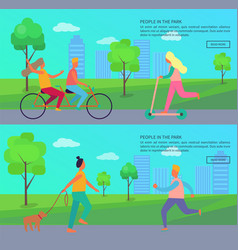 People in park posters with woman and man on walk vector