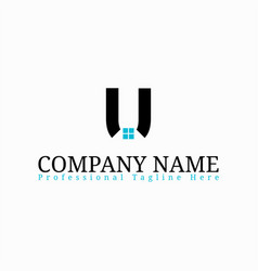 real estate initial letter u logo design template vector image