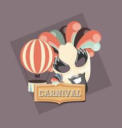 Retro carnival mask beard and hot air balloon vector