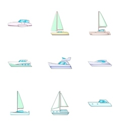 Sail boat icons set cartoon style vector