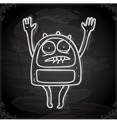 Scared Alien Drawing on Chalk Board vector image