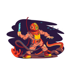 scuba diver man and octopus vector image